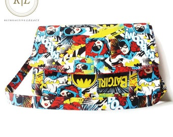 Custom Made Clutch - Custom Made Shoulder Bag - Handmade Purse - Handcrafted Handbag - Batgirl Purse with Removable Strap