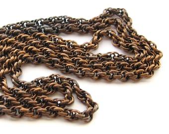 3 Feet Vintage Aged Rope Chain, Bronze Tone Twisted Rope Chain, Warm Patina Vintage Chain, Old Stock Chain, Vintage Supplies, Bead Destash