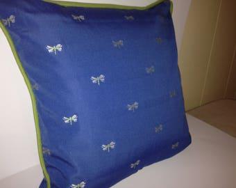 Dragonflies in White on Cobalt Blue Background