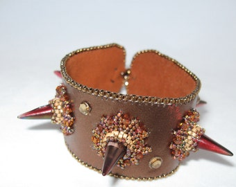 Leather Cuff Bracelet with Spikes