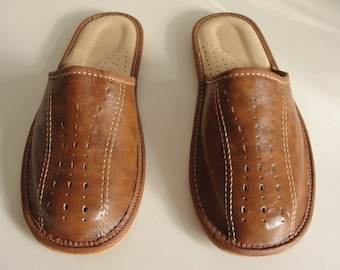 Mens Natural Brown Leather Mules/ Slippers