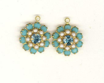 SALE 2 Vintage Swarovski Crystal Charms Pearl, Turquoise, & Aqua Rhinestone Brass Triple Flowers Drops Charms 15mm RS30