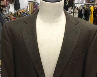 Vintage 1990s Geoffrey Beene Brown Wool  Men's Blazer Sports Coat Sz 44