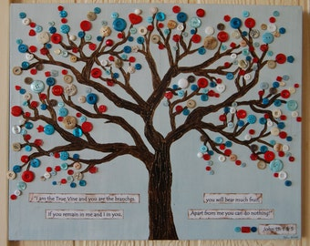 "Button Tree Art, Christian Art, Scripture Wall Hanging, Nursery Art, Inspirational Art, John 15: 1 & 5, ""I am the Vine You are the Branches"""