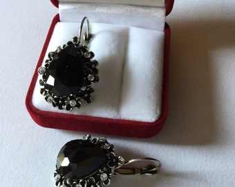Antique Victorian Style Black Jet Earrings Nd Silver Flowers Mourning Jewels