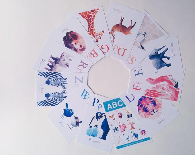 Baby flash cards, ABC learning cards, Alphabet art, Animal Alphabet Card Set, Nursery ABC prints, Baby nursery art, Alphabet flash cards