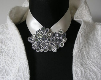 Wedding bib necklace silver for bride, Bridal statement necklace, Bride necklace, Bridal jewelry, Textile necklace white, Fiber art jewelry