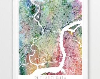 Philadelphia City Urban Map Poster, Philadelphia City Street Print, Philadelphia Watercolor Map, Modern Wall Art, Home Decor, Printable Art