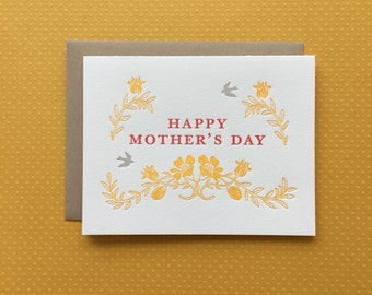 French Floral Mother's Day - letterpress card