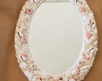 Wall mirror Pink and white  seashells Oval mirror