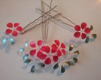 Hair accessories 3st bridal hair pins, green coral