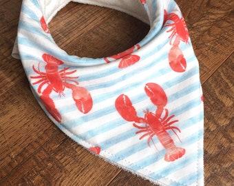bandana bib lobster bib baby drool bib watercolor bib neutral Bandana bib-Gender Neutral baby gift Bandana Bib-Organic Bamboo Terry