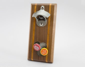 Walnut and Cherry Magnetic Bottle Opener - Additional Engraving and Personalization