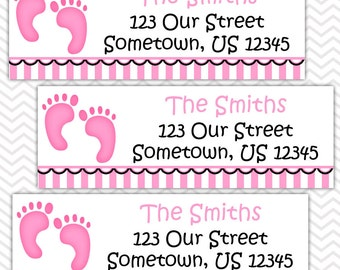 Baby Feet Pink - Personalized Address labels, Stickers, Baby Shower, Birthday