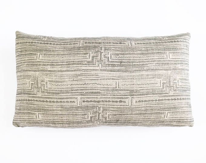 READY TO SHIP Gray Chinese Batik Tribal Linen Textile Lumbar Pillow Cover 12x20