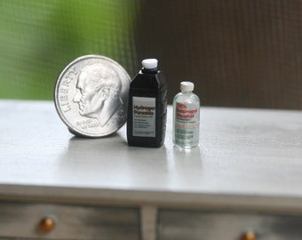 Dollhouse Miniature One Inch Scale 1:12 Peroxide and Alcohol first aid by CSpykersMiniaturesUS