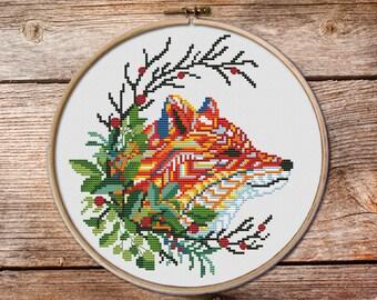 Red foxe cross stitch, fox cross stitch pattern, fox in wreath cross stitch, counted cross stitch, cross stitch pattern, modern cross stitch