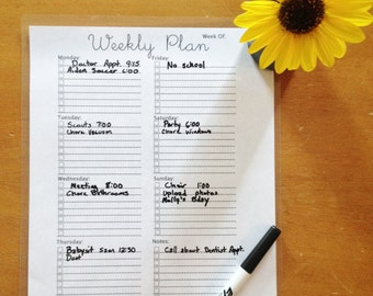 Weekly Plan, Weekly To Do List, Organizer Sheet
