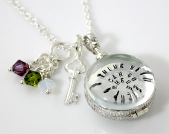 Simply Charming Glass Locket Hand Stamped and Personalized Necklace - Personalized Locket