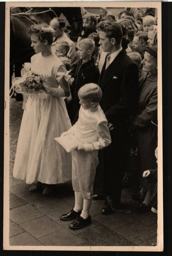 Ring Bearer and Flower Girl + Vintage Wedding Party Photo Postcard