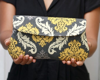 Bridesmaid clutch, bridesmaid gift, damask in grey, yellow and grey clutch purse