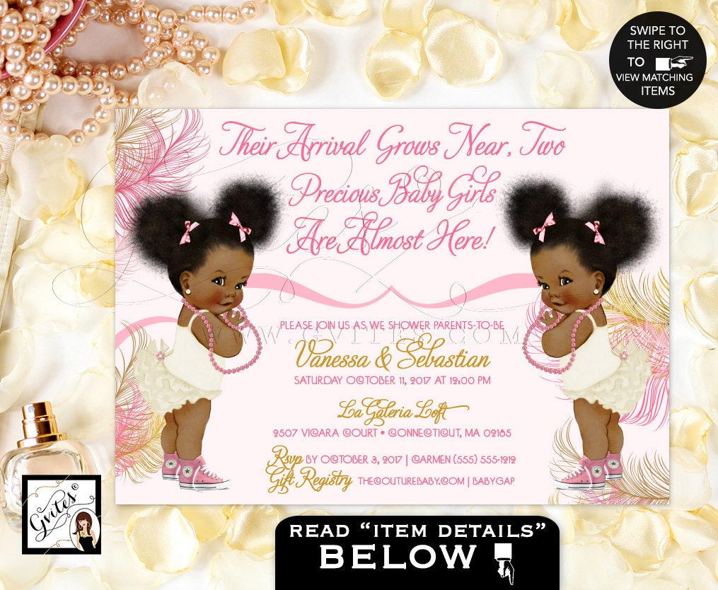 Twins African American baby girl baby shower invitations, pink, rose ...