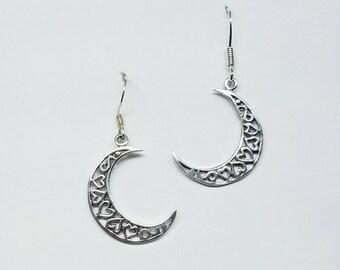 Moon Earrings~Silver Crescent Moon Earrings~Half Moon Earrings~Moon and Heart Celestial Earrings~Silver Lunar Moon Jewelry~Moon Gift for Her