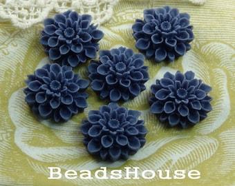 37-00-CA  6pcs Beautiful Crysanthemum Cabochon - Navy