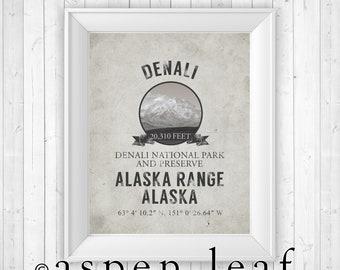 UNFRAMED PRINT ** Denali Mt McKinley Alaska Mountain Print - 8x10, 11x14, 16x20, 20x30 - Farmhouse Decor, French Country Decor