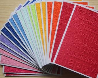 20 Embossed Birthday Cards.  Birthday Card Set.  Rainbow Birthday Cards.  Blank Birthday Card Set.  Happy Birthday Card Assortment.