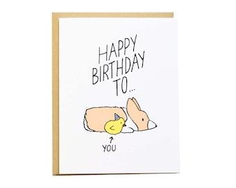 Chick Birthday Card, Girlfriend Birthday, Corgi Card, Corgi Birthday Card, Funny Birthday Card, Best Friend Birthday, Girlfriend