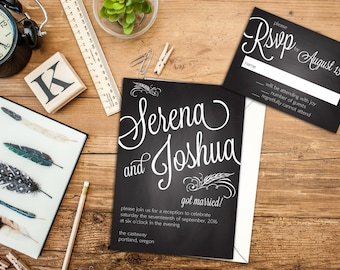 Chalkboard Bold Names Wedding or Elopement Suite, Reception Invitations, Response Cards, Wedding Marriage Announcement, After Wedding Party