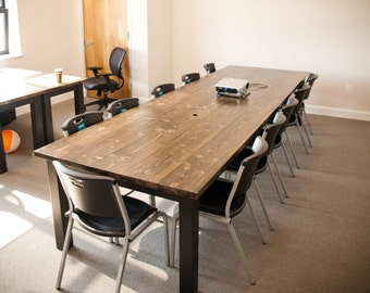 12ft Solid Wood Farmhouse Conference Table  | Farmhouse Dining Table | Farmhouse Kitchen Table | Rustic Conference Table