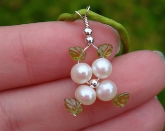 LOTUS BLOSSOM Collection - myBouquet Beaded Floral Design - Genuine GRADE A White Pearl, Etched Peridot Leaves - Handmade by Dorana