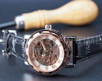 Engraved Skeleton Wrist Watch - Rose Gold Colour - Roman - Black Italian Calf Leather Band - Personalised Metal Gift Box - (WW-4-G-BLACK)