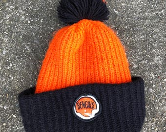 Vintage 70s Cincinnati Bengals Football Pom Pom Knit Winter Ski Hat Cap Beanie Toque Tassle NY NFL Throwback