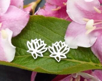 Lotus Earrings Yoga Jewelry Spiritual Flower Stud Post Sterling Silver Earrings for Women Yoga Jewellery UK Seller Tiny Dainty 1385