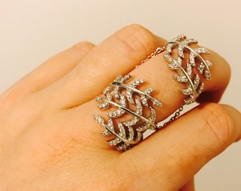 Leaf Full Finger, Silver Statement Knuckle Ring