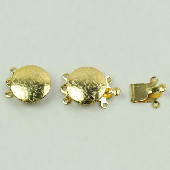 Clasps, Box and Tongue 3 hole Gold Colored Round Clasp