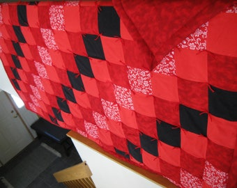 New Handmade Tied Full or Double Size Flannel Quilt Blanket