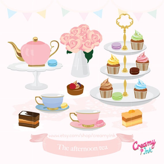 afternoon tea party digital clip art english high tea digital rh etsystudio com tea party clipart black and white tea party clipart