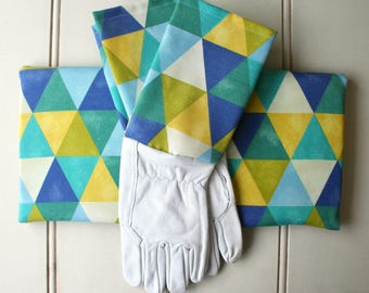 Citrine Geo Gardeners Giftset Kneeling Pad & Gloves - Garden Gloves, Green Thumb, Aqua, Geometric, Gift for Girlfriend, Lime, Modern Home