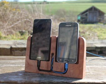 Twin Docking Station, Smartphone Stand, iPhone Stand, Dual iPhone Docking Station, Birthday Gift, Gift For Him, Valentines Day Gift