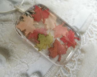 Falling Leaves-Glass Domed Rectangle Pendant-Rustic Miniature Maple Leaves Cut From Real Autumnal Leaves-Symbol for Canada-Gifts Under 30