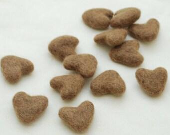 3cm 100% Wool Felt Hearts - 10 Count - Light Brown