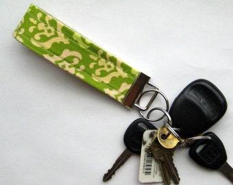 Fabric Keychain Fob in Green Freshcut