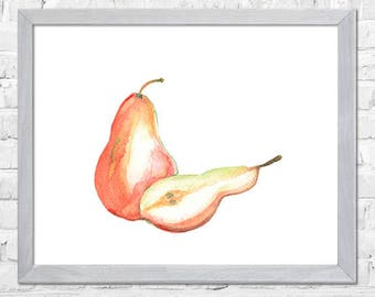Pears Wall Art, Pears Watercolor Print, Kitchen Wall Decor, Fruit Watercolor Painting, Pears Art, Pears Decor, Kitchen Wall Art
