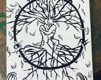 Original drawing, tree of life, man and woman embracing