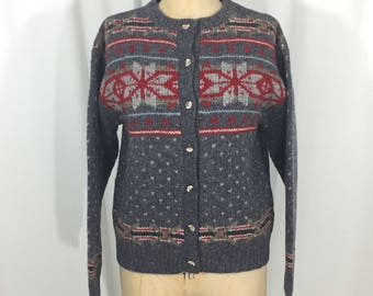 vintage 1980's snowflake sweater / Orvis / wool / nordic norwegian icelandic / women's vintage sweater / tag size small