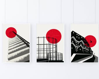 Blood Moon London Abstract Art Print Set - Matte and Giclee Art Prints of Brutalist and Industrial London - Barbican  Hackney  Brixton Print